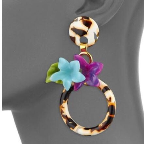 Lele Sadoughi Jewelry - LeLe Sadoughi Hibiscus Hoop Earrings